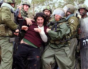 Israeli troops arrest protester during demonstration against controversial Israeli barrier in Bilin