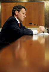 Geithner speaks during a hearing of the Congressional Oversight Panel of the Troubled Asset Relief Program on Capitol Hill in Washington