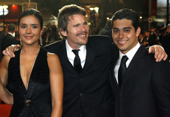 Colombian actress Catalina Sandino Moreno (L-R) stands with U.S. actors Ethan Hawke and Wilmer Valde..
