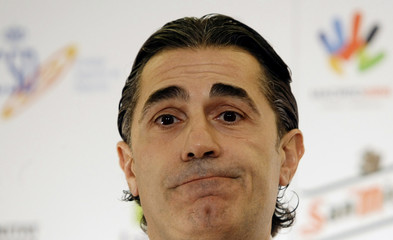 Spain's new national basketball coach Sergio Scariolo attends a news conference in Madrid