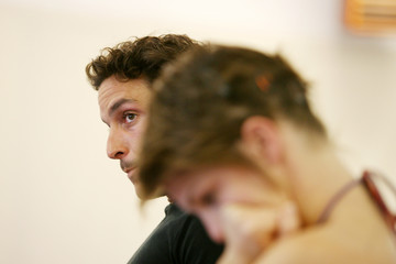 French actor Fabian Richard listens during rehearsals for Cabaret in Paris