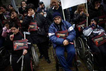 Disabled people protest in front of Bulgaria's government building in central Sofia