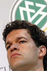 Ballack pauses during a news conference of the German national soccer team before the Euro 2008 in Tenero