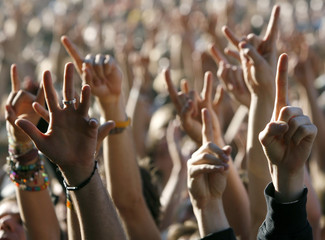 Festival-goers raise their hands during a gig by Swedish rock band The Hives at the Paleo Music Festival in Nyon