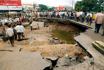 A SINKHOLE APPEARS AFTER FLOODS IN HYDERABAD CITY.