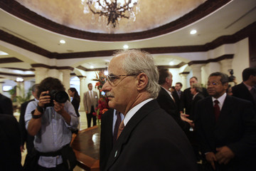 Argentina's Foreign Minister Taiana arrives at a hotel in Tegucigalpa