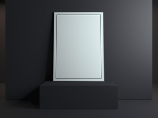 Blank picture frame on the black podium. 3d rendering
