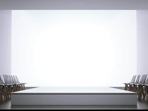 Empty runway and chairs. 3d rendering
