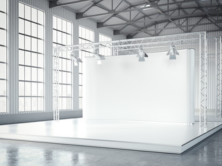 Empty stage with lightspots in modern exhibition interior. 3d rendering