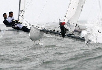 Echavarri and Paz of Spain sailing in Tornado Class compete to win gold at the Beijing 2008 Olympic Games in Qingdao
