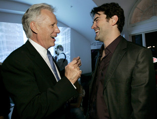 James Woods laughs with co-star Ron Livingstone at the after-party for the Los Angeles premiere of ...