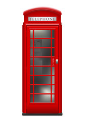 vintage red phone booth - symbol / landmark for London and Great Britain - isolated on a white background
