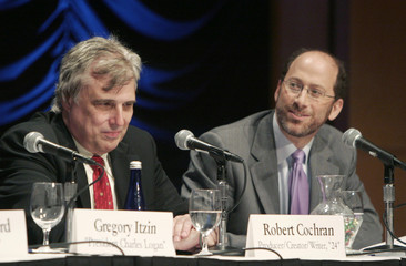 Writer and producer Cochran and CBS executive Heyman speak at a forum hosted by the Heritage Foundation in Washington