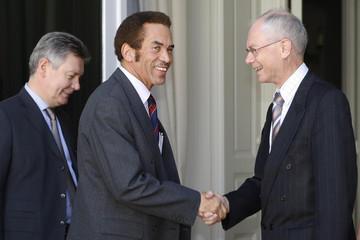 Belgium's PM Van Rompuy and FM De Gucht welcome Botswana's President Khama in Brussels