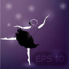 Ballerina on purple background.