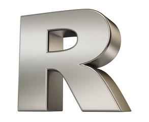 3d render. Metal alphabet symbol  R.