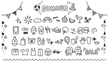 ガーリーな手描きアイコンセット 夏(線画・透過)