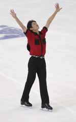 Kozuka of Japan competes in the men's short program of the Grand Prix of Figure Skating at the Skate America venue in Reading