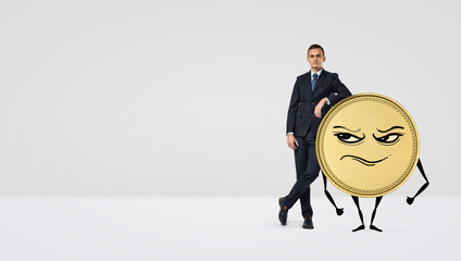 A businessman leaning on a golden coin with arms, legs and a grumpy face.