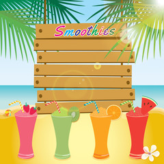 Illustration vector of wood sign template on beach background with summer smoothies beverage drink design for summer season