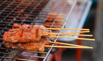 Bamboo skewer grilled pork