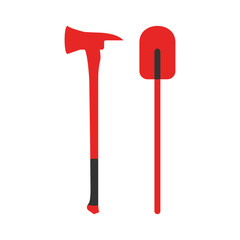 Axe and Shovel icon. Fire departament equipment icons. Vector Illustration.