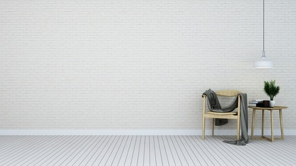 Wall Mural - The interior living white background - 3D Rendering