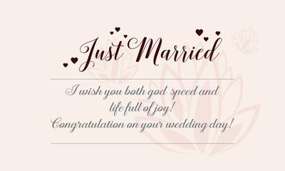 Happy wedding greeting card romantic theme