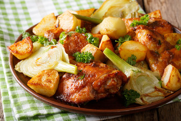 Moroccan food: pieces of chicken baked with fennel and potatoes close-up. horizontal