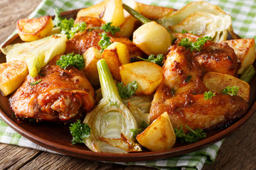 Chicken baked with fennel and potatoes close-up. horizontal