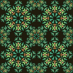 Seamless pattern with mandalas in beautiful colors. Vector background.