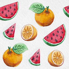 watercolor orange and watermelon seamless summer pattern