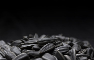 Black sunflower seeds background with copy space