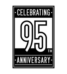 95 years anniversary design template. Vector and illustration.