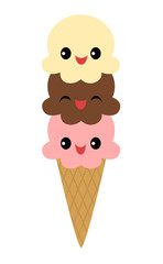 Three smiling scoops of ice cream on an ice cream cone