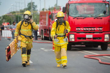 firefighter with oxygen mask