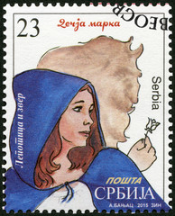 SERBIA - 2015: shows The Beauty and the Beast, series Characters from children's books