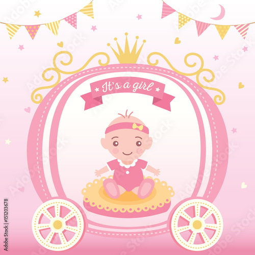 Illustration vector of baby shower greeting card for new born girls illustration vector of baby shower greeting card for new born girls decorated with princess cart and m4hsunfo