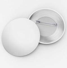 White badge pin. Blank white badges template. 3D illustration, 3D rendering.