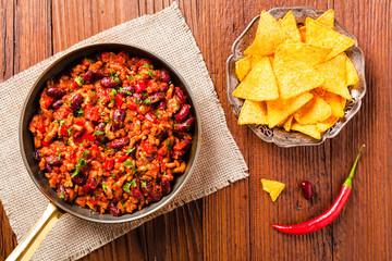 Mexican nachos with chili con carne