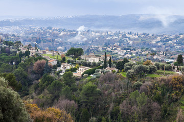 SAINT-PAUL-DE-VENCE, FRANCE, on JANUARY 9, 2017. The picturesque mountain town was located in the beautiful mountain valley. View from a city wall