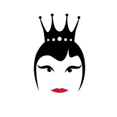 Vector sign queen with crown. Fashion and beauty concept