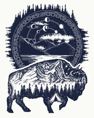 Bison and mountains tattoo art. Buffalo bull travel symbol, adventure tourism. Mountain, forest, night sky. Magic tribal bison double exposure animals