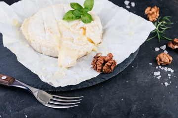 Camembert cheese with walnuts and basil on dark stone board