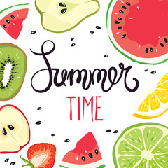 Funny summer hand drawing calligraphy/ Vector background with slices of fruits and berries