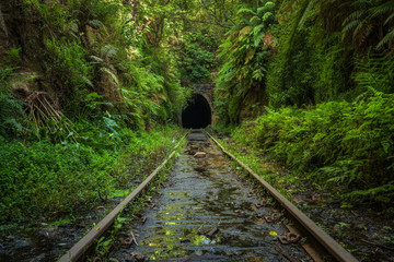 Abandoned railway line and tunnel in Helensburgh near Sydney in Australia