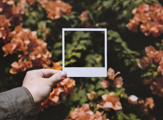 People Hand Holding Photo Frame with Bougainvillea Background
