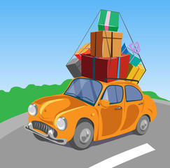 retro car with gift boxes on its top. Vector illustration