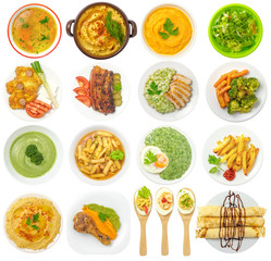 Meals on Plates Isolated on White Background