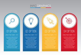 Modern Info-graphic Template for Business with four steps multi-Color design, labels design, Vector info-graphic element, Flat style vector illustration